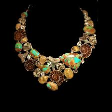 gemstone beads necklace images Turquoise ammonite gemstone necklace etania gems jewelry jpg