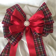 tartan ribbon bouquet chair sash large 7 tartan ribbon bow with tails
