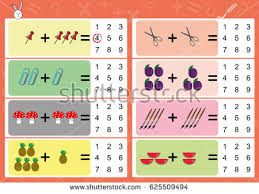 addition object write correct answer math stock vector 625509494