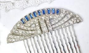 antique hair combs deco sapphire blue rhinestone bridal hair comb