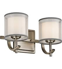 kichler 45450ap tallie 2 light 13 inch antique pewter vanity light