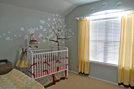 cherry blossom wall with drapes nursery contemporary and washable