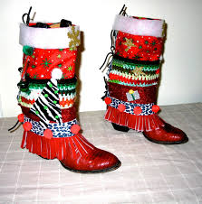 ugly christmas sweater boot cover make old boots wild and fun