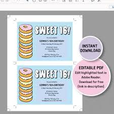 donut sweet 16 invitation template doughnut party editable invite