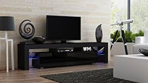 Modern Cabinet Living Room by Amazon Com Tv Stand Milano 200 Black Body Modern Led Tv Cabinet