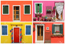 painted houses photo montage with multicolor vivid painted houses in burano