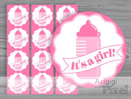 it s a girl ribbon baby pink it s a girl printable label printable sticker with ribbon