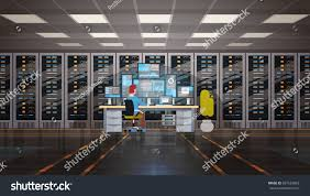 man working data center room hosting stock vector 697524892