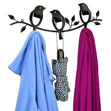 amazon com bird design wall mounted black metal 6 hook rail