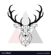 deer head geometric deer head stag head and antlers vector image