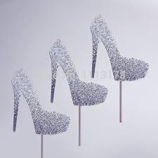 high heel cake topper glitter silver glitter high heel cupcake topper baby bridal shower