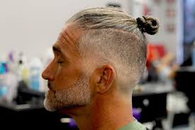 haircut for older balding men with gray hair man bun with bald skin fade with beard step by step how to youtube
