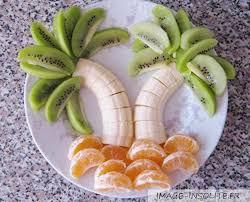 coupe banane cuisine palmier en banane kiwi et mandarine food design food