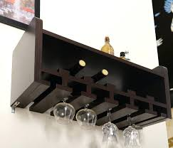 bar wine racks wooden black wall glass wine holder on white wall