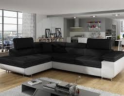canapé d angle convertible noir canape angle convertible en tissu noir et blanc hcommehome