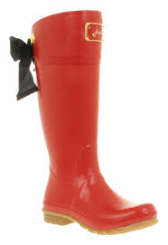womens boots joules womens joules evedon welly black bow detail rubber wellington