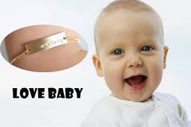 Baby Name Bracelet Engraved Baby Name Gold Plated Chain Jewelry Charm Baby Bracelet