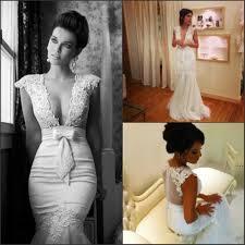 Wedding Dresses Discount Mermaid Wedding Dresses Discount V Neck Appliques Mermaid