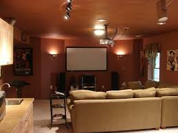 Home Movie Theater Decor Ideas by Amazing Tomato Color Interior Decorating Home Theater Idea Wall
