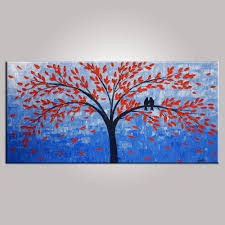Bedroom Wall Canvases Singing Birds Painting Bedroom Wall Art Tree Painting Abstract