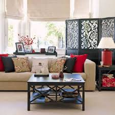 interior fancy image of red black and white living room