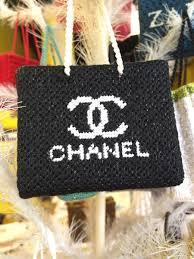 needlepoint chanel shopping bag ornament canvas needlepoint inc
