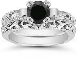 black engagement ring set black 1 carat deco bridal set in sterling silver