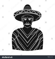 mexican man sombrero poncho icon black stock vector 530383096