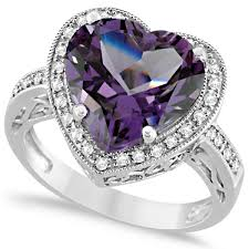 heart shaped rings images Heart shaped amethyst diamond ring halo 14k white gold 5 41ct jpg