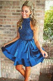 for homecoming high neck navy homecoming dresses with beading