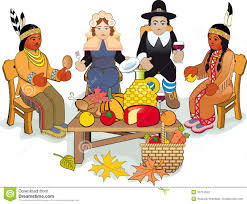 thanksgiving pilgrims and indian stock vector illustration