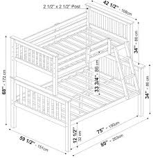 bunk bed measurements bunkbed twin over full by palace imports