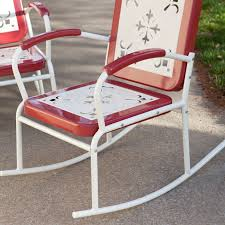 Retro Metal Patio Furniture - coral coast paradise cove retro 3 pc metal rocker chat set