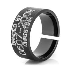 duck band wedding ring men s black split back duck band ring titanium buzz