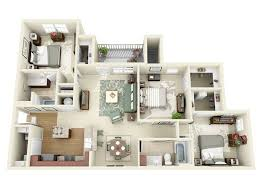 3 Bedroom Apartments Floor Plans 50 Three U201c3 U201d Bedroom Apartment House Plans Roommate Bedrooms