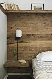 headboard with built in bedside tables rustic wood wall with shelf hooks built in bedside table decor