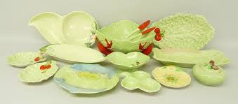 Melba Ware Vase A Carlton Ware Lettuce Leaf Salad Bowl And Servers With Lobster