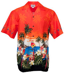 parrot palms 2 mens hawaiian aloha shirt in orange mens hawaiian