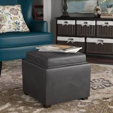Ottoman With Tray Cube Storage Ottoman With Tray Wayfair