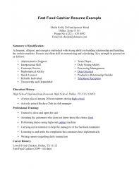 resume for fast food cashier samples of resumes