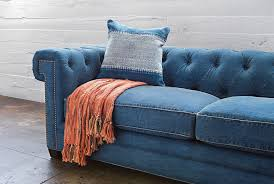 Turquoise Tufted Sofa by Otb Denim Tufted Sofa Living Spaces