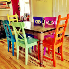 Colorful Kitchen Table by Chair Hand Made Dining Table Multi Coloured By Oldpine Custommade