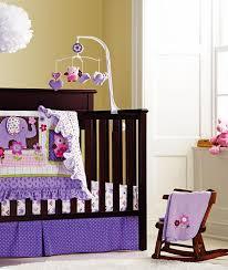 Plain Crib Bedding Baby Purple Owl 9pcs Crib Bedding Set With