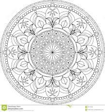 circle mandala coloring page with palm tree stock vector