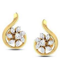 gold second studs earrings buy gold diamond earrings designs at best