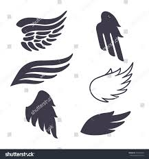 set six vector silhouettes wings elements stock vector 275653940