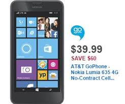 black friday deals phones at u0026t gophone nokia lumia 635 4g no contract cell phone deal at