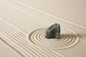 Zen Rock Garden by Nature Sand Grain Stone Circle Lines Zen Rock Calm Garden