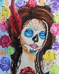 tattoo home decor sugar skull art dia de los muertos tattoo roses paint