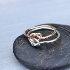 knot promise ring knot ring gold filled ring two toned ring stacker